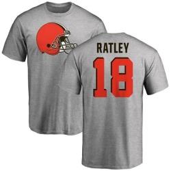 Men's Damion Ratley Cleveland Browns Name & Number Logo T-Shirt - Ash