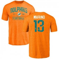 Men's Dan Marino Miami Dolphins Orange Distressed Name & Number Tri-Blend T-Shirt