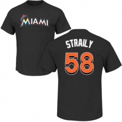 Men's Dan Straily Miami Marlins Roster Name & Number T-Shirt - Black
