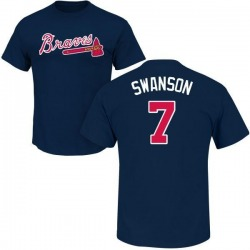 Men's Dansby Swanson Atlanta Braves Roster Name & Number T-Shirt - Navy
