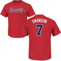 Men's Dansby Swanson Atlanta Braves Roster Name & Number T-Shirt - Red