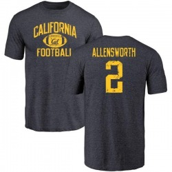 Men's Darius Allensworth Cal Bears Distressed Football Tri-Blend T-Shirt - Navy
