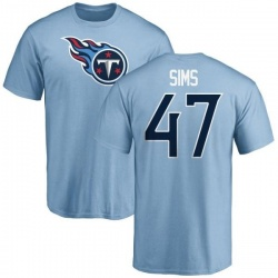 Men's Darrius Sims Tennessee Titans Name & Number Logo T-Shirt - Light Blue