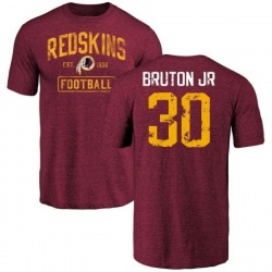 Men's David Bruton Jr. Washington Redskins Burgundy Distressed Name & Number Tri-Blend T-Shirt