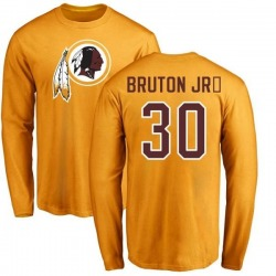 Men's David Bruton Jr. Washington Redskins Name & Number Logo Long Sleeve T-Shirt - Gold