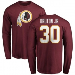 Men's David Bruton Jr. Washington Redskins Name & Number Logo Long Sleeve T-Shirt - Maroon