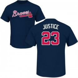 Men's David Justice Atlanta Braves Roster Name & Number T-Shirt - Navy