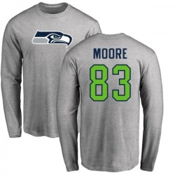 Men's David Moore Seattle Seahawks Name & Number Logo Long Sleeve T-Shirt - Ash