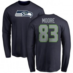 Men's David Moore Seattle Seahawks Name & Number Logo Long Sleeve T-Shirt - Navy