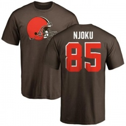 Men's David Njoku Cleveland Browns Name & Number Logo T-Shirt - Brown