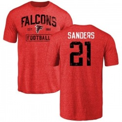 Men's Deion Sanders Atlanta Falcons Distressed Name & Number Tri-Blend T-Shirt - Red