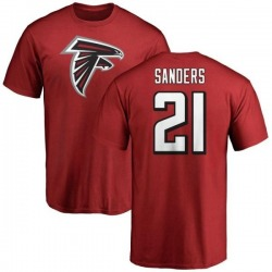 Men's Deion Sanders Atlanta Falcons Name & Number Logo T-Shirt - Red