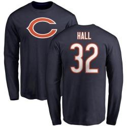 Men's Deiondre Hall Chicago Bears Name & Number Logo Long Sleeve T-Shirt - Navy