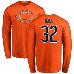Men's Deiondre Hall Chicago Bears Name & Number Logo Long Sleeve T-Shirt - Orange