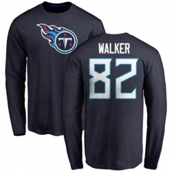 Men's Delanie Walker Tennessee Titans Name & Number Logo Long Sleeve T-Shirt - Navy