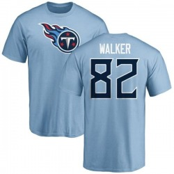 Men's Delanie Walker Tennessee Titans Name & Number Logo T-Shirt - Light Blue