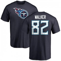 Men's Delanie Walker Tennessee Titans Name & Number Logo T-Shirt - Navy
