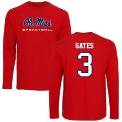 Men's DeMarquis Gates Ole Miss Rebels Basketball Long Sleeve T-Shirt - Red