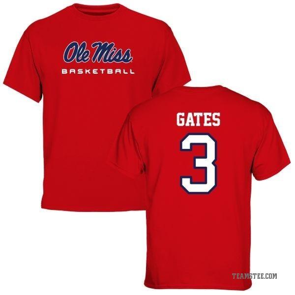 Men's DeMarquis Gates Ole Miss Rebels Basketball T-Shirt - Red