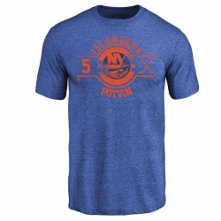 Men's Denis Potvin New York Islanders Insignia Tri-Blend T-Shirt - Royal