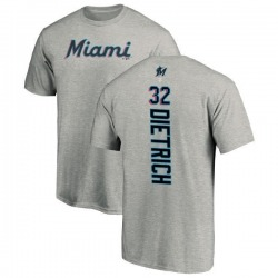 Men's Derek Dietrich Miami Marlins Backer T-Shirt - Ash