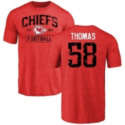Men's Derrick Thomas Kansas City Chiefs Red Distressed Name & Number Tri-Blend T-Shirt