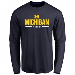 Men's Devin Asiasi Michigan Wolverines Sport Wordmark Long Sleeve T-Shirt - Navy