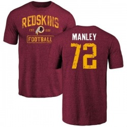 Men's Dexter Manley Washington Redskins Burgundy Distressed Name & Number Tri-Blend T-Shirt