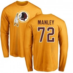 Men's Dexter Manley Washington Redskins Name & Number Logo Long Sleeve T-Shirt - Gold