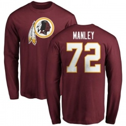 Men's Dexter Manley Washington Redskins Name & Number Logo Long Sleeve T-Shirt - Maroon
