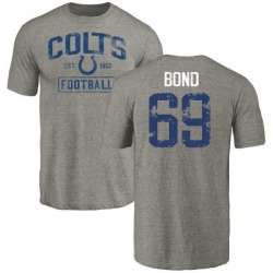 Men's Deyshawn Bond Indianapolis Colts Gray Distressed Name & Number Tri-Blend T-Shirt