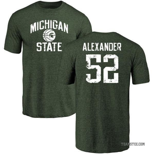 Men's Dillon Alexander Michigan State Spartans Distressed Basketball Tri-Blend T-Shirt - Green
