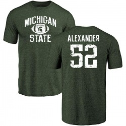 Men's Dillon Alexander Michigan State Spartans Distressed Football Tri-Blend T-Shirt - Green