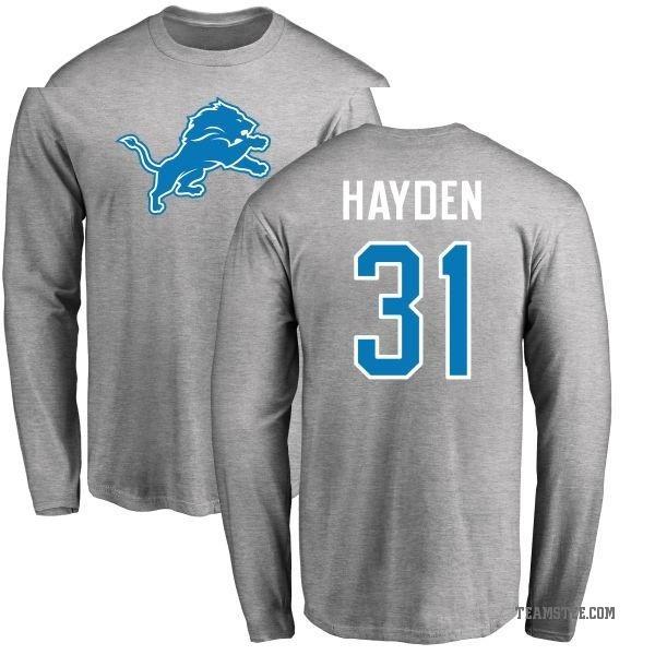 new style f77df 16556 Men's D.J. Hayden Detroit Lions Name & Number Logo Long Sleeve T-Shirt -  Ash - Teams Tee
