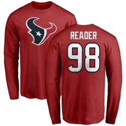 Men's D.J. Reader Houston Texans Name & Number Logo Long Sleeve T-Shirt - Red