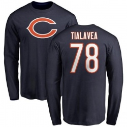 Men's D.J. Tialavea Chicago Bears Name & Number Logo Long Sleeve T-Shirt - Navy