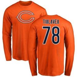 Men's D.J. Tialavea Chicago Bears Name & Number Logo Long Sleeve T-Shirt - Orange