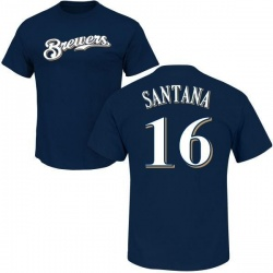 Men's Domingo Santana Milwaukee Brewers Roster Name & Number T-Shirt - Navy