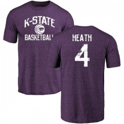 Men's Dominique Heath Kansas State Wildcats Distressed Basketball Tri-Blend T-Shirt - Purple