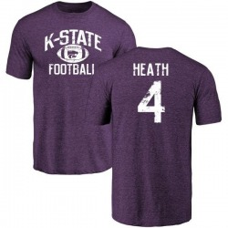 Men's Dominique Heath Kansas State Wildcats Distressed Football Tri-Blend T-Shirt - Purple