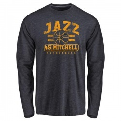 Men's Donovan Mitchell Utah Jazz Navy Baseline Tri-Blend Long Sleeve T-Shirt
