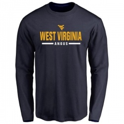 Men's Dontae Angus West Virginia Mountaineers Sport Wordmark Long Sleeve T-Shirt - Navy