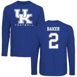 Men's Dorian Baker Kentucky Wildcats Football Long Sleeve T-Shirt - Royal