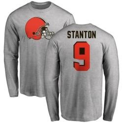 Men's Drew Stanton Cleveland Browns Name & Number Logo Long Sleeve T-Shirt - Ash