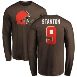 Men's Drew Stanton Cleveland Browns Name & Number Logo Long Sleeve T-Shirt - Brown