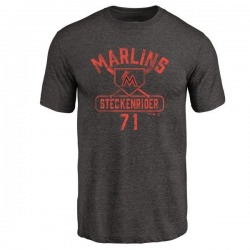 Men's Drew Steckenrider Miami Marlins Base Runner Tri-Blend T-Shirt - Black