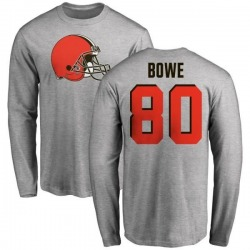 Men's Dwayne Bowe Cleveland Browns Name & Number Logo Long Sleeve T-Shirt - Ash