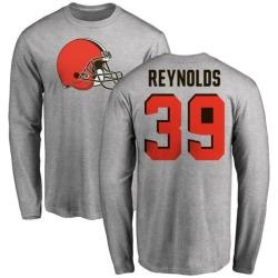 Men's Ed Reynolds Cleveland Browns Name & Number Logo Long Sleeve T-Shirt - Ash