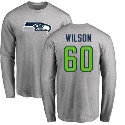 Men's Eddy Wilson Seattle Seahawks Name & Number Logo Long Sleeve T-Shirt - Ash