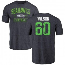 Men's Eddy Wilson Seattle Seahawks Navy Distressed Name & Number Tri-Blend T-Shirt